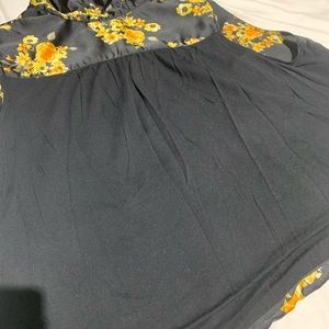 INC International Concepts Tops - INC Black Silk With Yellow Flowers 3X